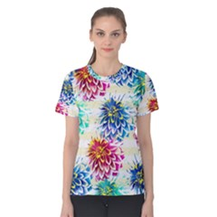 Colorful Dahlias Women s Cotton Tee