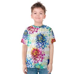 Colorful Dahlias Kids  Cotton Tee