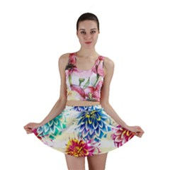 Colorful Dahlias Mini Skirt