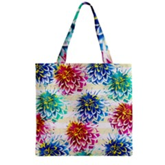 Colorful Dahlias Grocery Tote Bag by DanaeStudio