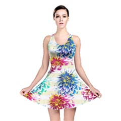 Colorful Dahlias Reversible Skater Dress