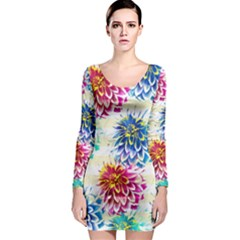 Colorful Dahlias Long Sleeve Bodycon Dress