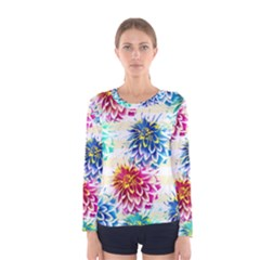 Colorful Dahlias Women s Long Sleeve Tee
