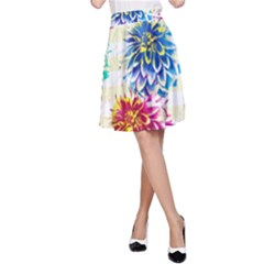 Colorful Dahlias A-Line Skirt