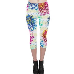 Colorful Dahlias Capri Leggings