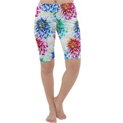 Colorful Dahlias Cropped Leggings