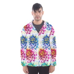 Colorful Dahlias Hooded Wind Breaker (Men)