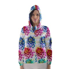 Colorful Dahlias Hooded Wind Breaker (Women)