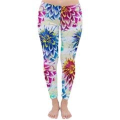 Colorful Dahlias Classic Winter Leggings