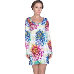 Colorful Dahlias Long Sleeve Nightdress