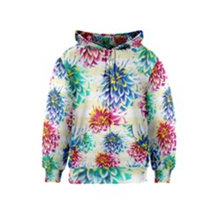 Colorful Dahlias Kids  Zipper Hoodie by DanaeStudio