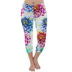 Colorful Dahlias Capri Winter Leggings
