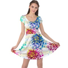 Colorful Dahlias Cap Sleeve Dresses