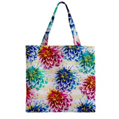 Colorful Dahlias Zipper Grocery Tote Bag