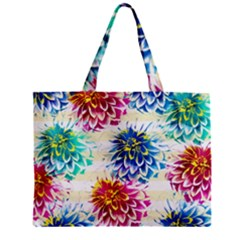 Colorful Dahlias Zipper Mini Tote Bag