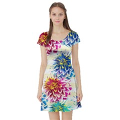 Colorful Dahlias Short Sleeve Skater Dress