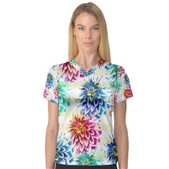 Colorful Dahlias Women s V Neck Sport Mesh Tee by DanaeStudio