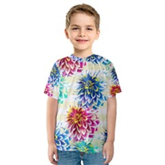 Colorful Dahlias Kids  Sport Mesh Tee