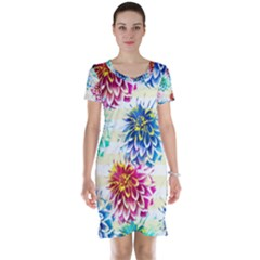Colorful Dahlias Short Sleeve Nightdress