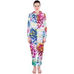 Colorful Dahlias Hooded Jumpsuit (Ladies)