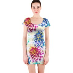 Colorful Dahlias Short Sleeve Bodycon Dress