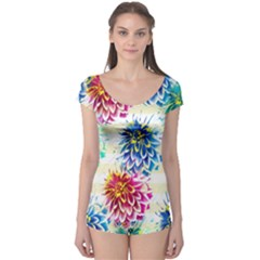 Colorful Dahlias Boyleg Leotard