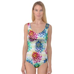 Colorful Dahlias Princess Tank Leotard