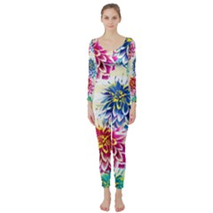 Colorful Dahlias Long Sleeve Catsuit