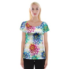 Colorful Dahlias Women s Cap Sleeve Top