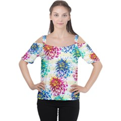 Colorful Dahlias Women s Cutout Shoulder Tee