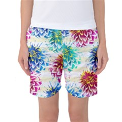 Colorful Dahlias Women s Basketball Shorts