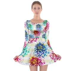Colorful Dahlias Long Sleeve Skater Dress