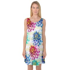 Colorful Dahlias Sleeveless Satin Nightdress by DanaeStudio
