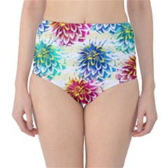 Colorful Dahlias High-Waist Bikini Bottoms