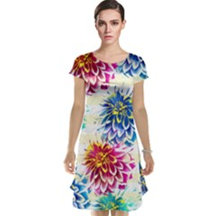 Colorful Dahlias Cap Sleeve Nightdress