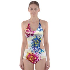 Colorful Dahlias Cut-Out One Piece Swimsuit