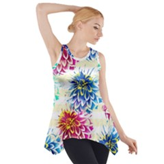 Colorful Dahlias Side Drop Tank Tunic