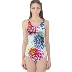 Colorful Dahlias One Piece Swimsuit