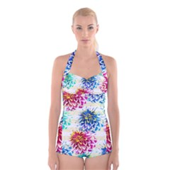Colorful Dahlias Boyleg Halter Swimsuit