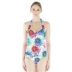 Colorful Dahlias Halter Swimsuit