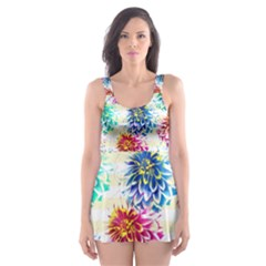 Colorful Dahlias Skater Dress Swimsuit
