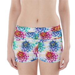 Colorful Dahlias Boyleg Bikini Wrap Bottoms