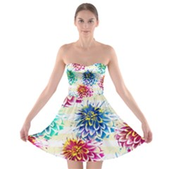 Colorful Dahlias Strapless Bra Top Dress