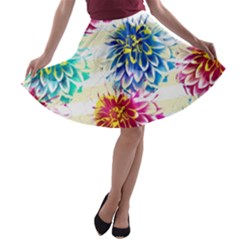 Colorful Dahlias A-line Skater Skirt