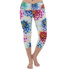 Colorful Dahlias Capri Yoga Leggings