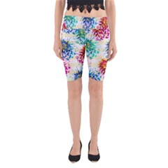 Colorful Dahlias Yoga Cropped Leggings