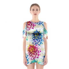 Colorful Dahlias Cutout Shoulder Dress