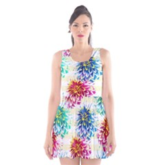 Colorful Dahlias Scoop Neck Skater Dress