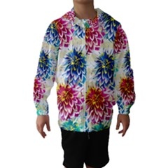 Colorful Dahlias Hooded Wind Breaker (Kids)