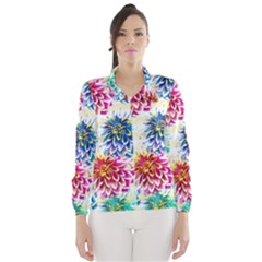Colorful Dahlias Wind Breaker (Women)